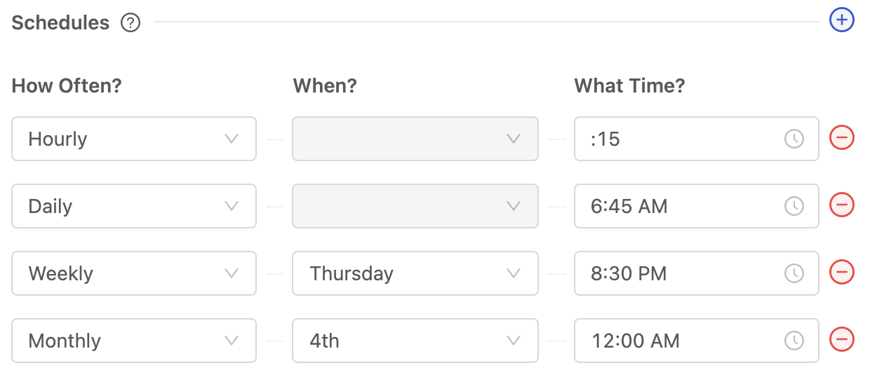 View on the Triggers tab when there are schedules.